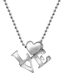 """alex woo """"love"""" heart pendant necklace in sterling silver"""