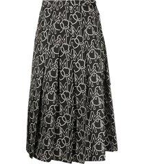 moncler logo print pleated skirt - black