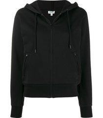 kenzo rhinestone embellished zipped hoodie - black