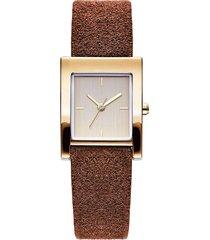 moda orologio da polso al quarzo rettangolo senza numero quadrante cinturino in pelle orologi gioielli casual per le donne