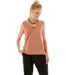 blusa sem manga com decote v tranpassado