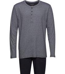 pyjama long pyjamas blå schiesser