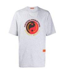 heron preston camiseta com estampa de logo - cinza