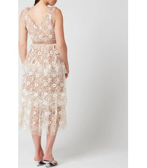 self-portrait women's flower sequin tiered midi dress - multi - uk 12