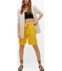 mango women's linen bow bermuda shorts