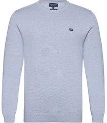 bradley organic cotton crew neck sweater gebreide trui met ronde kraag blauw lexington clothing