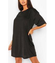 oversized strakke t-shirtjurk, zwart