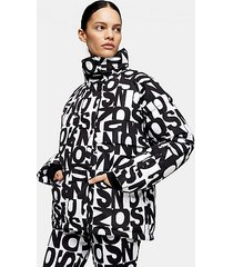 *black and white logo ski jacket by topshop sno - monochrome