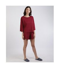 pijama feminino manga 7/8 decote redondo vermelho escuro