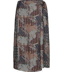 3424 - wrap skirt knälång kjol svart sand