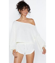 womens knit happens sweater and shorts set - cream