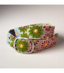women's flower pond wool belt