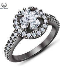 10k black gold finish pure sterling silver white diamond engagement wedding ring