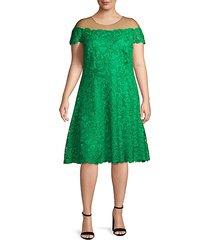 plus lace illusion knee-length dress