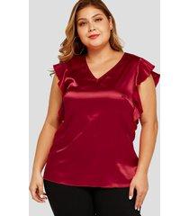 camiseta de manga corta con cuello en v y ribete de satén rojo de talla grande