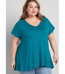 lane bryant women's burnout high-low max swing tunic 10/12 shaded spruce