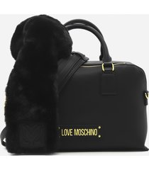 love moschino handbag with logo lettering and eco-fur scarf detail