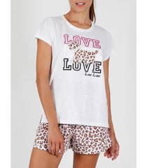 pyjama's / nachthemden admas pyjama kort t-shirt loulou jungle beige