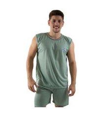 pijama 4 estações regata masculino liso adulto curto veráo fechado confortavel verde
