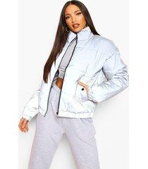 tall korte reflecterende gewatteerde jas, silver