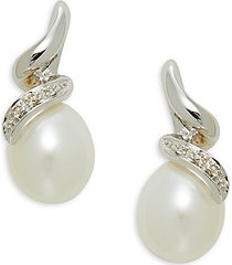 14k white gold, 7-8mm white freshwater pearl & diamond drop earrings