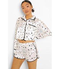 petite sterrenprint pyjama set met shorts, white
