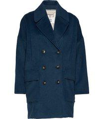 heavy outerwear wollen jas lange jas blauw noa noa