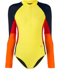 perfect moment long-sleeved surfing swimsuit - yellow