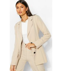 tailored contrast seam fitted blazer, off white