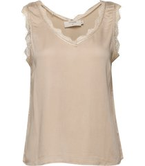 alenacr stretch top blus ärmlös beige cream