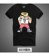 estilo callejero verano hombres corto manga casual camiseta - negro