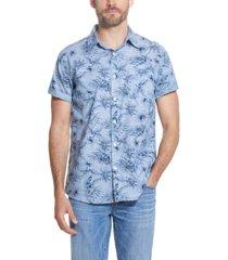 men's floral printed chambray short sleeve shirt