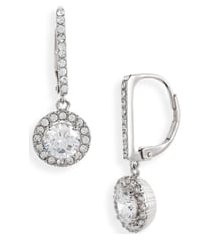 nordstrom cubic zirconia halo drop earrings in clear- silver at nordstrom