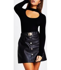 river island womens black faux leather belted waist mini skirt