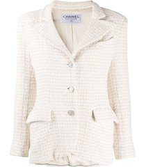 chanel pre-owned woven notched lapel jacket - white