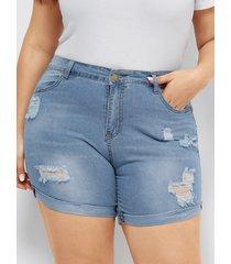 plus botón de bolsillos laterales tamaño diseño shorts de mezclilla