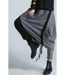 donna harem pantaloni alla moda a righe da cucito a vita elastica con stringa