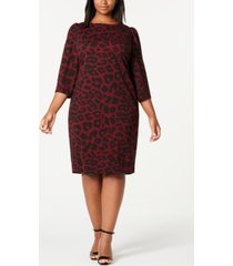 calvin klein trendy plus size animal-print puff-shoulder dress