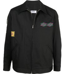 adish embroidered bomber jacket - black