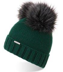 ciepła czapka damska na zimę czapka z pomponem