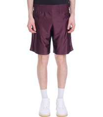acne studios fredgar shorts in bordeaux synthetic fibers