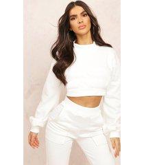 mix & match high neck deep waist crop sweater, ecru