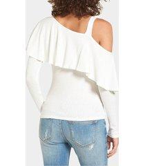 camiseta con hombros descubiertos diseño one blanco
