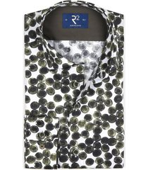 overhemd r2 wit met donkergroen patroon