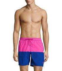 mr swim men's colorblock drawstring shorts - aqua blue - size s