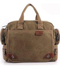 spalla da viaggio da lavoro a tracolla casual in tela multi-tasca da uomo borsa