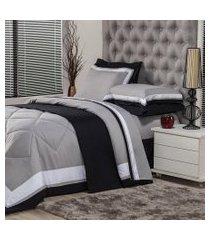 jogo de cama casal plumasul soft comfort 4 peças cinza