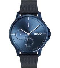 hugo men's #focus blue leather strap watch 42mm