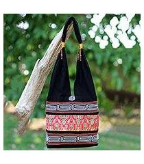 cotton blend shoulder bag, 'charming thai in red' (thailand)