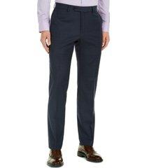 tommy hilfiger men's modern-fit navy mini grid thflex suit pants